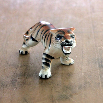 Wild One - Vintage Ceramic Tiger Made in Japan - Jungle - Orange - Animal - Men - Black - Vintage Home Decor - Safari