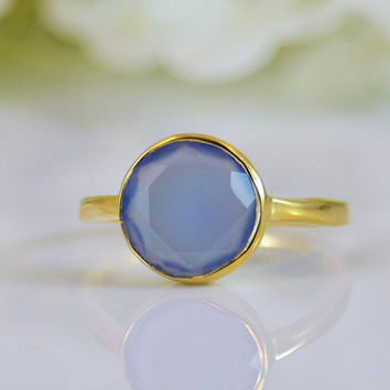 Faceted Blue Chalcedony 18K Vermeil Gold ring - round cut stacking bezel set ring - large round stone ring
