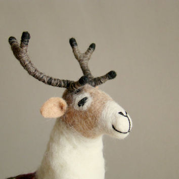 Anderson - Felt Reindeer. Art Puppet, Marionette, Stuffed Animal, Felted Toy. mteam. beige brown neutral cream  woodland. MADE TO ORDER.