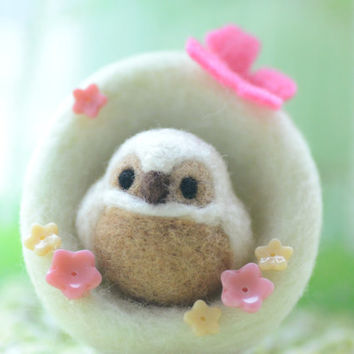 Handmade owl in nest doll, needle felted owl and nest home decor ornament, soft sculpture bird, bird nest with pink butterfly, gift under 25