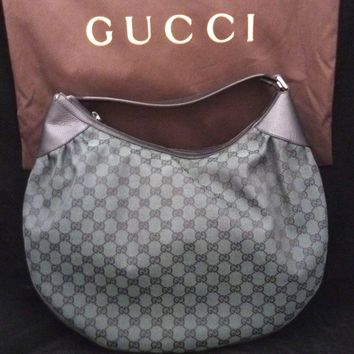 AUTHENTIC GUCCI HOBO HANDBAG NYLON NEW LARGE POUCH GREEN BLACK LEATHER