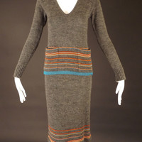 PIERRE D'ALBY-1970s Gray Sweater Knit 2pc Dress, Bust-34