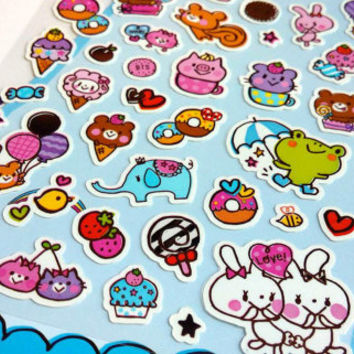 cute animal sticker yummy food animal party sticky farm animal teddy bear rabbit squirrel little frog piglet sticker colorful animal world