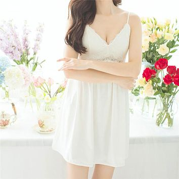Nightgowns Sleepshirts Lace Home Dress Sexy Nightwear Women Sleepwear Solid Sleep Lounge Vintage Nightgown Female