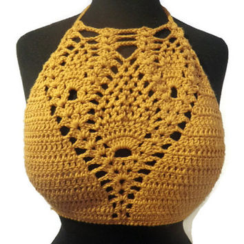 Golden Pineapple cotton halter top, festival top, sexy summer crochet top