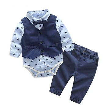 Autumn Fashion infant clothing Baby Suit Baby Boys Clothes Gentleman Bow Tie Rompers + Vest + pants Baby Set