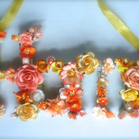 """Floral Wall Decor - Peach and Yellow Handmade Mulberry Flowers - Wooden """"Home"""" Wall Sign"""
