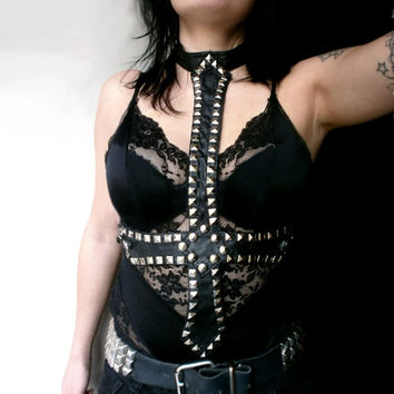 Satanic Show Girl studded black leather upside down cross choker necktie / harness top