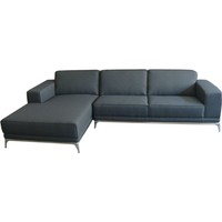 Cappa Sofa Sectional Left Chaise Grey Fabric Chrome Legs