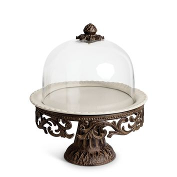 GG Collection Acanthus Cake Pedestal with Glass Dome