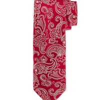 Floral-Paisley Silk Tie, Burgundy, Size: 3, red - Charvet