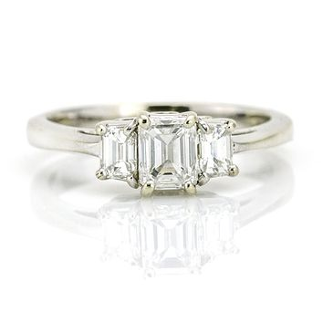 1.60 Carat 14k Gold GIA Certified Emerald Cut Diamond Three Stone Engagement Ring