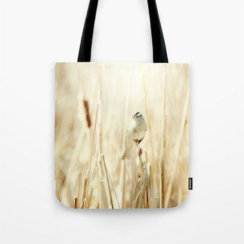 Art Tote beach bag Bright Bird fine art photography nature photograph yellow tones ethereal light photo minimalist summer fashion abstract