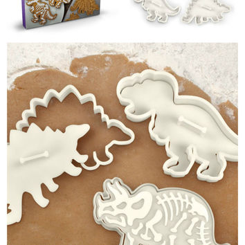 Set of 3 Dinosaur Cookie Cutter Stamp