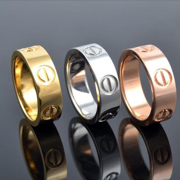 New Fashion Jewelry Screw Shape 3 Color Stainless Steel Unisex's Ring Best Lover Gift