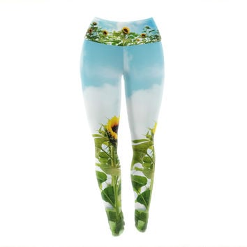 "Sylvia Cook ""Sunflower Field"" Blue Green Yoga Leggings"