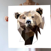 AL10 - Bear  - animal art print - geometric - wall art - nature - brown - modern