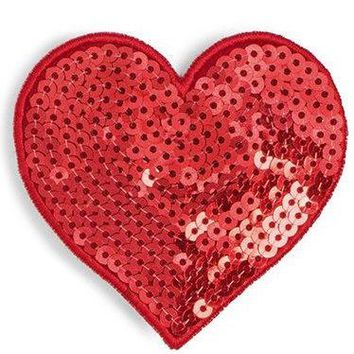 Red Sequin Mini Heart by Bando - Wear as a Pin or Hair Clip!