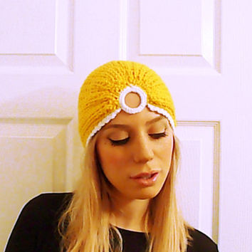 Knit turban hat, vintage style hat, ribbed turband hat, oriental headwrap, turban head wrap, back in style hat, sunflower yellow hat