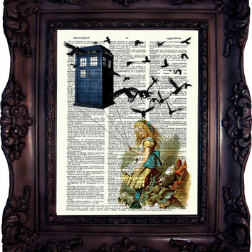 Dr Who.Tardis. Alice in wonderland. Dictionary art print. Vintage  Print. Book Page. Art print. Tardis.Alice. Dictionary print. Code:035