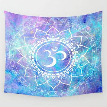 Om Mandala Pink Aqua Lavender Galaxy Space Wall Tapestry by 2sweet4words Designs