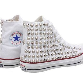 DCCK1IN studded converse white converse with silver cone studs oneside studded by customduo