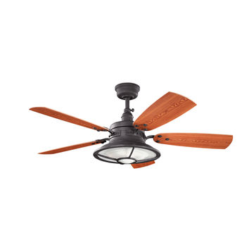 Kichler 310102DBK Harbour Walk Patio Distressed Black Indoor and Outdoor Ceiling Fan