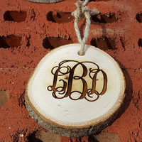 Monogrammed Engraved Rustic Wooden Ornament ~ Country ~ Wedding ~ Gift ~ Christmas