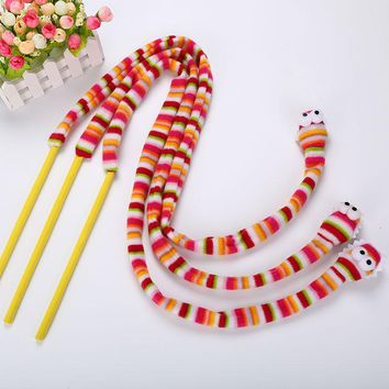 Interactive Colorful Pet Kitten Cats Toys Rainbow Snake Scratching Funny Cats Cute Toy Plush Tease Cat Rod Pet Toys Pet Supplies