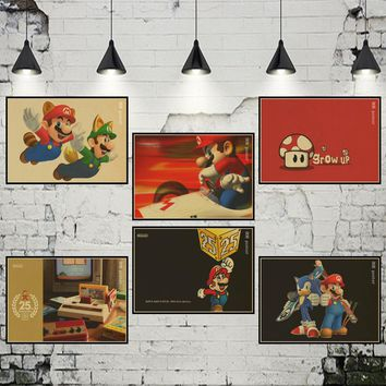 Vintage Classic Game Character Super Mario Poster Cafe Bar Kid's Room Painting Home Decor Retro Kraft Paper Wall Sticker