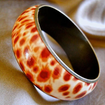 Animal Print Bangle Bracelet, Enamel Cheetah, Vintage Brass