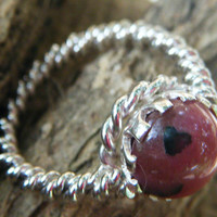 Natural Heart Inclusion in Rhodonite ring - Stunning Mothers Day gift!