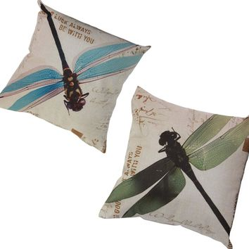 Country side Animal Cotton Linen Room Bed Chair Throw Pillows Cover Dragonfly Pillowcase