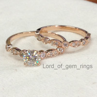 5mm Round Moissanite Art Deco Diamonds Engagement Ring with Matching Band Sets in 14K Rose Gold,