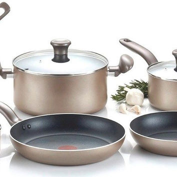 T-fal C067SC Metallics Nonstick Thermo-Spot Heat Indicator Cookware Set 12-Pi...