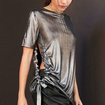 Cheap Monday Metallic Side-Tie Tee - Urban Outfitters