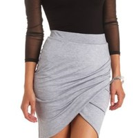 Ruched Bodycon Tulip Skirt by Charlotte Russe - Heather Gray