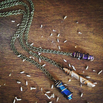 Rainbow Titanium Quartz Crystal Necklace Rainbow Quartz Necklace Bohemian Jewelry Gypsy Healing Crystals and Stones