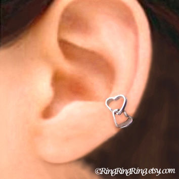 Double love heart silver ear cuff earring jewelry - 925 sterling earcuff Left 081312