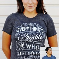 JCLU Forever Christian t-shirts — 097-EVERYTHINGS POSSIBLE-DARK HEATHER
