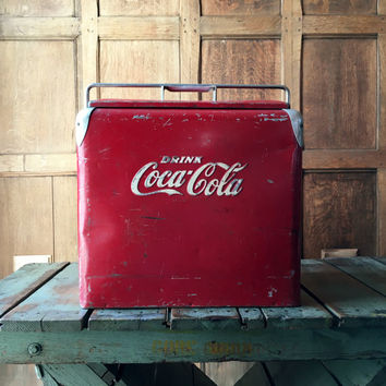 Vintage Coke Cooler, Coca Cola Cooler, Coca Cola Collectibles, Metal Cooler, Beer Cooler