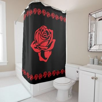 Red Rose and Black Shower Curtain