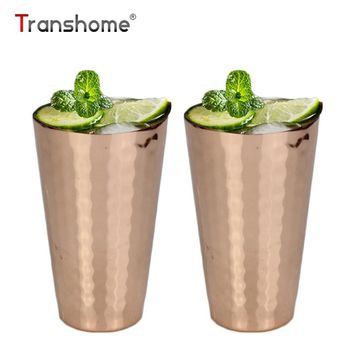 Transhome Hammered Copper Mug 350ml 12oz Creative Stainless Steel Plated Moscow Mule Mugs For Fruit Juice Beer Liquor Cup
