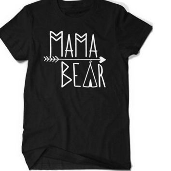 ONETOW Women Mama Bear Graphic t shirt Family Love Matching Bear Mothers Day Tee