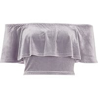 Grey velvet deep frill bardot crop top - crop tops / bralettes - tops - women