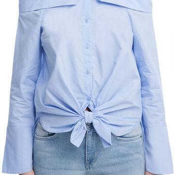 Off Shoulder Button-down (sky)
