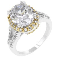 18K Gold & Rhodium Oval and Brilliant CZ Engagement Ring