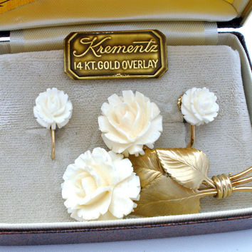 Krementz Carved Bone Rose Brooch & Earring Set Vintage
