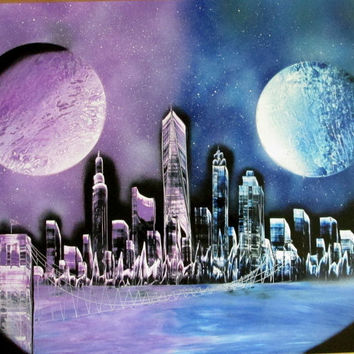 New York spray paint art,new york gift,new york spray painting,galaxy painting,space wall art,large painting,original,24*30,wall art,decor