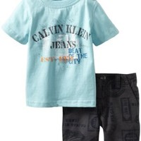 Calvin Klein Baby Boys' Tee With Printed Short, Blue, 12 Months